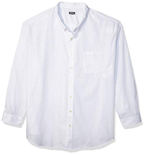 Van Heusen Men's Size Big and Tall Wrinkle Free Poplin Long Sleeve Button Down Shirt, Bright White, X-Large