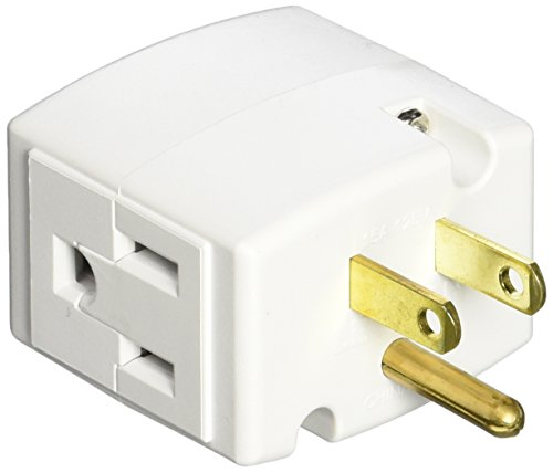 Leviton 692-W 15 Amp, 125 Volt, Triple Cube Grounding Adapter, White (White Duplex Adapter)