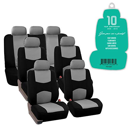 (FH Group FB051217 Three- Row Multifunctional Flat Cloth Car Seat Covers, Airbag Compatible and Split Bench Gray/Black - Fit Most Car, Truck, SUV, or Van)