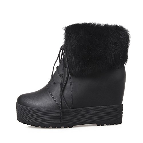 Fur Leather Girls Inside Imitated Collar Bandage Boots Platform Black Heighten AdeeSu x8RwXqPX