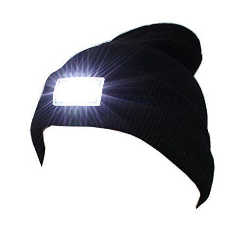 Ultra Bright 5 LED Beanie Cap/Hat Hands Free Unisex Lighted Stocking Cap Perfect Hands Free Flashlight For Camping,Hiking,Hunting,Fishing,Jogging,Construction or Just For Fun One Size Fits Most