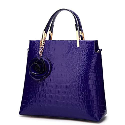Pu Type Crossbody Red Tamaño color Cuero Bolso Azul De La Handbag Ladies Bucket Brillante S 8dRq4wPzx