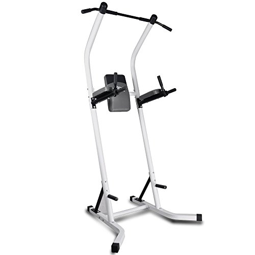 Doitpower Power Tower Free Standing Pull Up Bar Indoor Home Fitness Equipment (white)