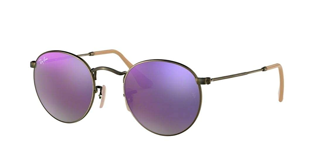 8e4058b5e4 Amazon.com  Ray-Ban RB3447 Round Metal Mirror Unisex Sunglasses (Demiglos  Brushed Bronze Lilac Mirror 167 4K