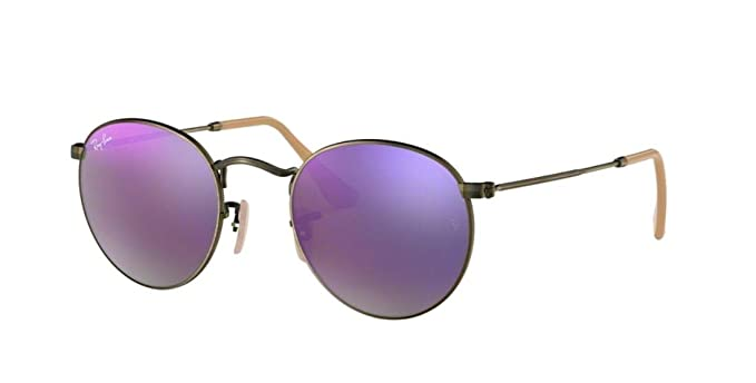 8fd803c233c Ray-Ban RB3447 Round Metal Mirror Unisex Sunglasses (Demiglos Brushed  Bronze Lilac Mirror