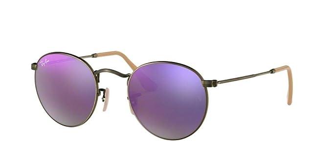 0eb24c19c398 Ray-Ban RB3447 Round Metal Mirror Unisex Sunglasses (Demiglos Brushed Bronze Lilac  Mirror