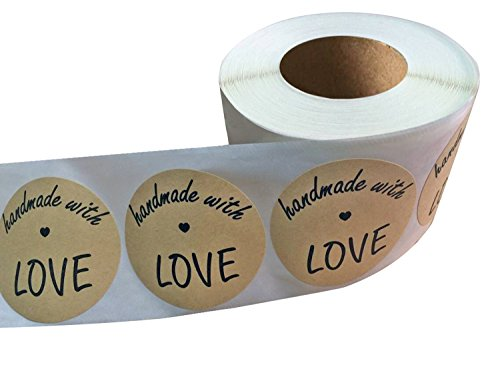 Wootile 2 Inch Round Handmade with Love Natural Kraft Stickers with Black Font | 500 Total Adhesive Labels