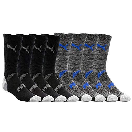Puma Mens Crew Socks Sports Cool Cell, 8 Pairs, Sock Size 10-13, Shoe Size 6-12, Black
