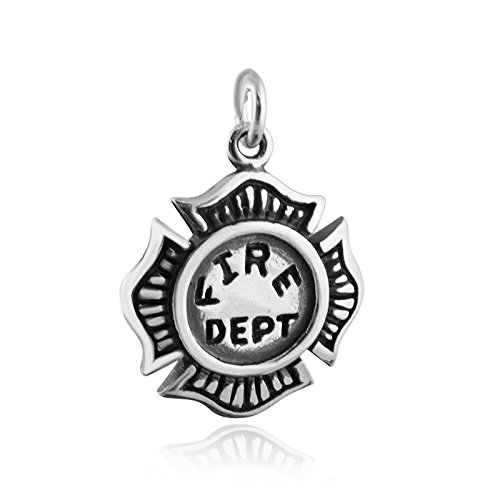 Pendant Jewelry Making Fire Department Charm - 925 Sterling Silver Maltese Cross Firefighter