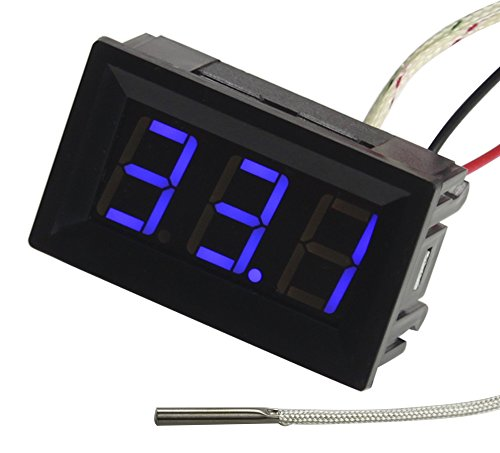 Temperature Readout - UCTRONICS -30-800 Degree Centigrade Digital Temperature Meter Blue LED Display K-Type Thermocouple Temp Sensor 2-Wires Reverse Polarity Protection with Black Case
