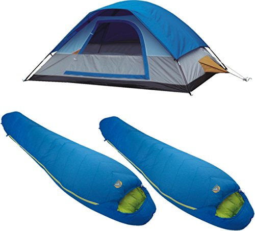 A Alpinizmo 5 Men Dome Tent Two 20 F Mummy Sleeping Bags Free Compression Sack Combo, Blue, One Size by A Alpinizmo