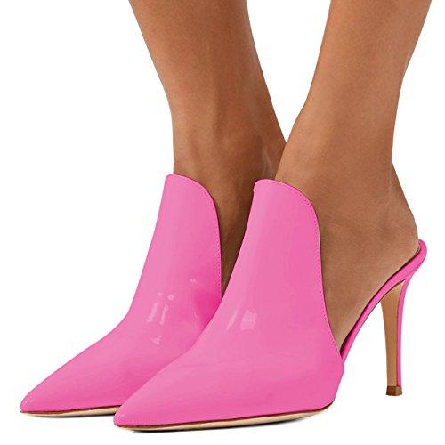 Size Fuchsia High Shoes Mule Women Cm 8 Heels Slippers Stiletto Glossy Slide 15 US Slip On Sandals 4 FSJ a0qWR7ww