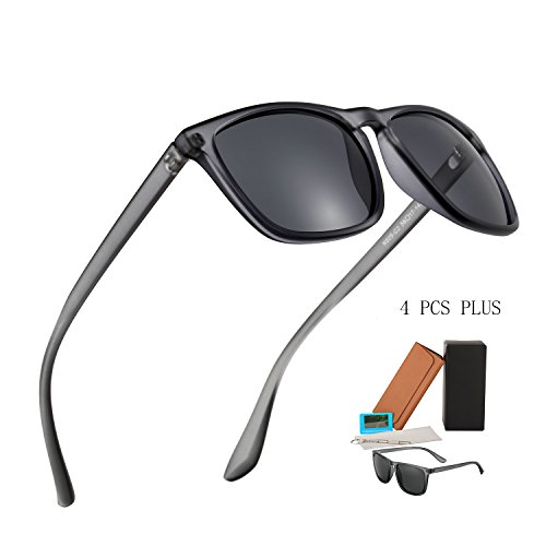 Plastic Polarized Sunglasses Matte in Bulk for Men Dark Gray Tint Classic Vintage Sturdy Nomad Sun Glasses for Women Top Rated Male Fishing Driving Traveling Sports Motorcyclists Luxury Eye - Tint Dark Very Sunglasses