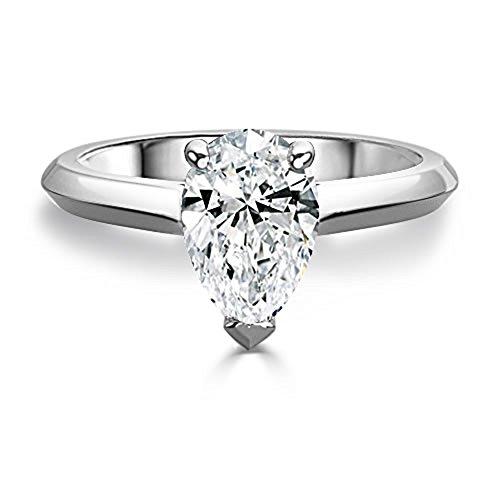 2.50 Ct Pear Moissanite Diamond Engagement Ring 14K White Gold Size J K L M...
