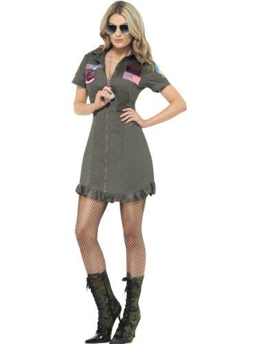 Uniforms Gun Top (Smiffy's Women's Deluxe Top Gun Aviator + Glasse Military Fancy Uniform Wo Women: 8-10 Greens)