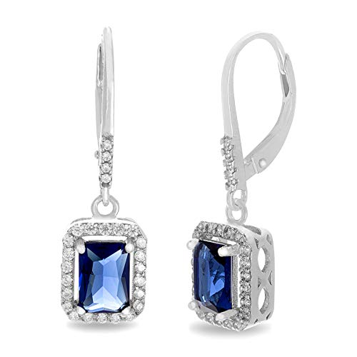 MIA SARINE Emerald Cut Dangle Drop Simulated Blue Sapphire and Cubic Zirconia Bridal Leverback Earring in Rhodium Plated 925 Sterling Silver (Cut Earrings Sapphire Dangling)