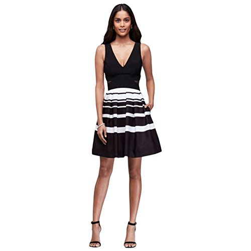 Striped Style David's Bridal Side Cocktail Taffeta Black with White XS9786 Cutouts Dress 5Z8qF