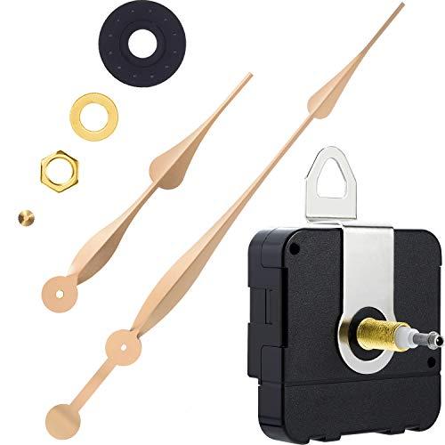 Hicarer High Torque Long Shaft Clock Movement Mechanism with 12 Inch Long Spade Hands (Gold)
