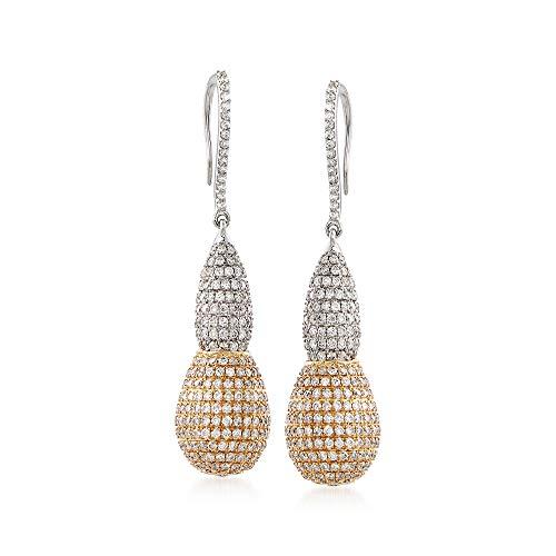 Ross-Simons 3.90 ct. t.w. Diamond Elongated Bead Drop Earrings in 14kt Two-Tone Gold