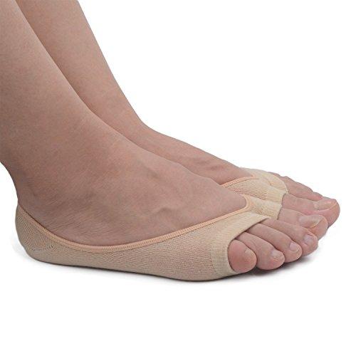CiSiRUN 5 Pair Womens Summer Cotton Peep Toe Socks Non-slip Heel Grip No Show Socks (Ballet Peep Toe Flats)