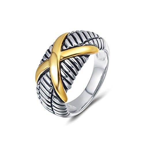 UNY Women Jewelry Criss Cross Designer Inspired Fashion Femme Vintage Love Christmas Valentine Gift Ring (7)
