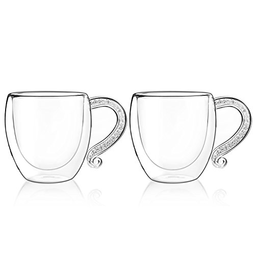 Coffee Mug with Crystal-Filled Handle,IKET Insulated Double-Wall Glass Tea Espresso Cup-Unique Birthday Gift Set of 2 (2, White)