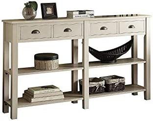 Benjara Benzara Grand Wooden Storage Console Table, Cream