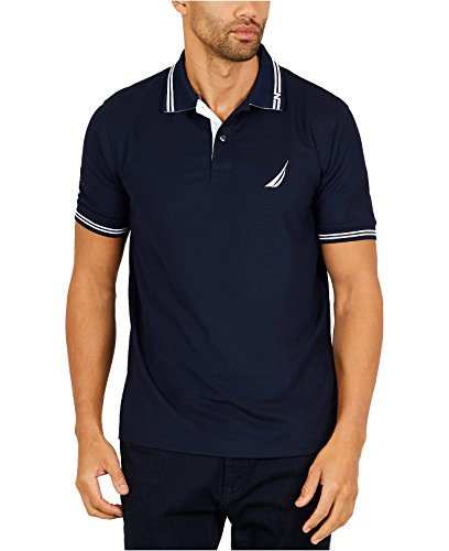 Nautica Men's Performance Wicking and Stain Resistant Solid Polo Shirt, Navy Large