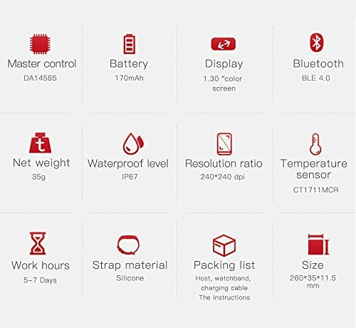 RRLOM Smart Watch Blood Pressure Monitor, Heart Monitor Smart Watch, Temperature Scanner, IP67 Waterproof, SpO2+ HR+ BP Monitor, Sports Fitness Tracker 412rRD6mwDL