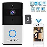 Smart Video Doorbell Camera Wi-fi with Motion Detector 720P HD Home Security Camera with 8GB SD Card,Two-Way Audio Night Vision Compatible Smart Phone and Tablet (Not Included Battery)
