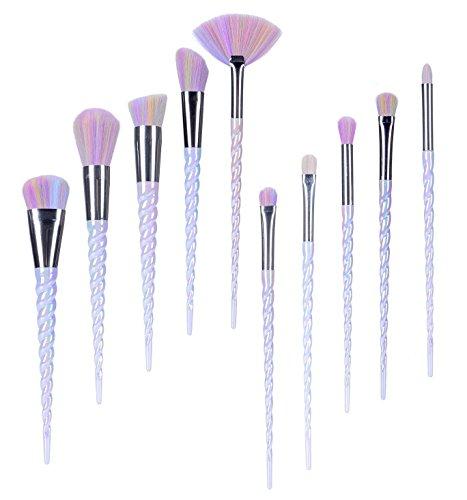 Lospu HY 10pcs Unicorn Makeup Brushes Set Professional Makeup Tools Cosmetic Powder Foundation Brush Eyeshadow Blusher with Travel Pouch