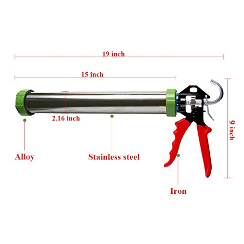 Caulking Gun, Manual sausage caulk gun with heavy duty Stainless Steel Barrel, 20 oz Sausage Pack/10 oz Cartridge Convertible,15''/600ml,High thrust 18:1 (Silver+red) by Sinton (Image #1)