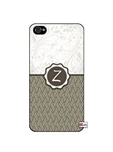 Monogram Initial Letter Z Apple iphone 4s Quality TPU Soft Rubber Case for iphone 4s - AT&T Sprint Verizon - White Case