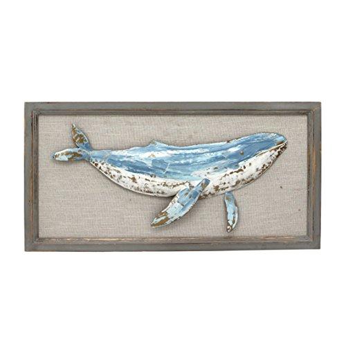 Sagebrook Home Wooden Whale Wall Decor Window Box, Blue