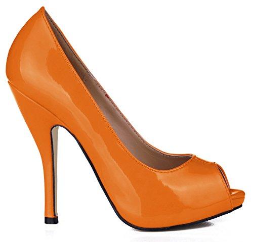 sur haut réception Nouveau de pointe et vernis noir talon Orange à femmes Dark poisson l'automne des les chaussures dans Pearl chaussures chaussures cuir de boîtes qualités Cliquez dw7xABd