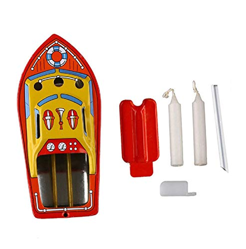 Cinhent Grocery House Candle Boat, Vintage Pop-pop Boat Steam Powerd Collectable Toy Boat Educational Recycle Retro Tin Boat Toy Gift for Children Seniors Adult ()