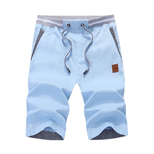 GuaziV Mens Shorts Casual Classic Fit Drawstring Summer Beach Shorts with Elastic Waist and Pockets Cotton (155-180lb, Sky Blue) by GuaziV (Image #1)