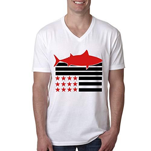 (Aiw Wfdnn American Flag Tuna Men's V-Neck Short Sleeve T-Shirts)