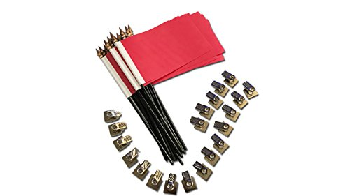 20 Pack Red Desk Flags with Flag up Flag Down 360 Metal Clips Pomodoro Status Alert Office by Deskflag