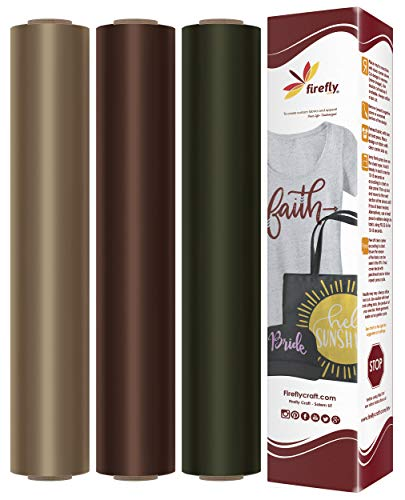 Firefly Craft Heat Transfer Vinyl Bundle | Earth Tone HTV Vinyl Bundle | Pack of 3 Rolls of Iron On Vinyl for Cricut and Silhouette - 12 x 20 Each