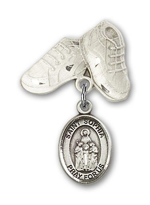 Sterling Silver Baby Badge with St. Sophia Charm and Baby Boots Pin
