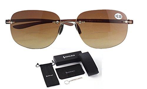 SOOLALA Unisex Lightweight Bifocal Reading Glasses Fishing Sunglasses Readers, Tea, - Fishing Best Sunglasses Bifocal