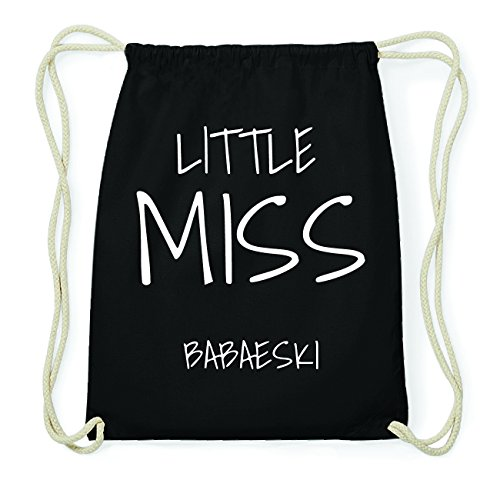 JOllify BABAESKI Hipster Turnbeutel Tasche Rucksack aus Baumwolle - Farbe: schwarz Design: Little Miss