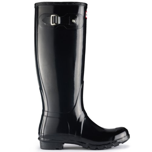 Hunter Original Tall Gloss Damen Fest Gummistiefel Wellington Boots - Blau - 39