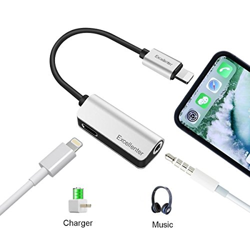 Lightning to 3.5mm Headphone Jack Adapter, Excellenter 2 in 1 Iphone 7 Adapter Splitter Audio & Charge Cable for iPhone X,iPhone 8/8Plus,iPhone 7/7Plus(Support iOS 10.3 and iOS 11)