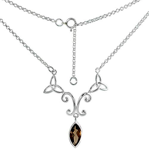 Sterling Silver Celtic Trinity Triquetra Knot Necklace with 12x6mm Marquise Cut Gemstone, 16-17 inch Long
