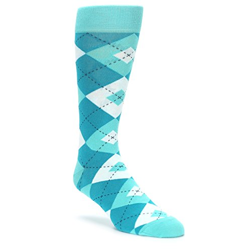Statement Sockwear Men's Argyle Groomsmen Wedding Socks (Jade Spa Turquoise)