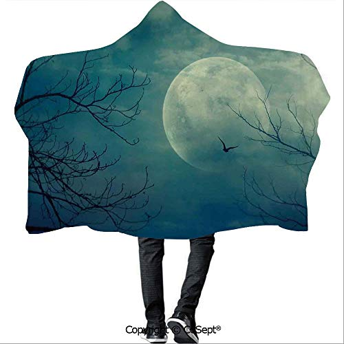 SCOCICI Polyester Hooded Blankets,Halloween with Full Moon in Sky and Dead Tree Branches Evil Haunted Forest,Unisex All Ages One Size Fits All(59.05x78.74 inch),Blue -