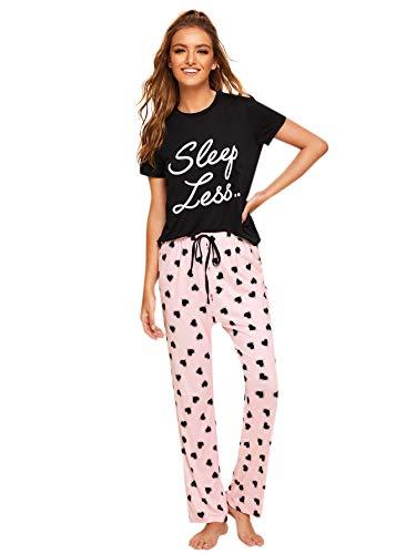 Milumia Women Cute Short Sleeves Round Neck Tops Pants Pajamas PJ Sets