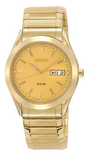 Seiko Men's SNE058 Gold Tone Solar Champagne Dial Watch